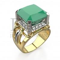 Эксклюзивное кольцо с изумрудом и бриллиантами