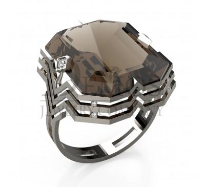 Эксклюзивное кольцо с топазом и бриллиантами