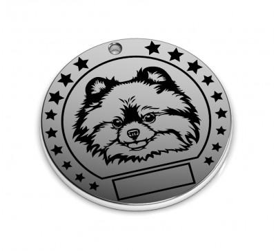 """Серебряный адресник для собак """"Шпиц"""""""